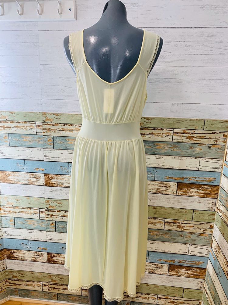 60s Pale Yellow Embroiled Slip Dress - Hamlets Vintage
