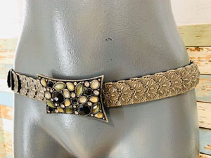 70s Rectangle Stone Buckle stretch Belt