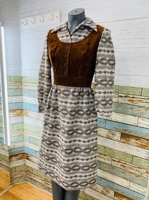 70s Two tone Polyester & Velvet  Dress  By Leslie Fay
