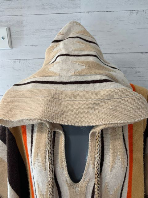 70s Cuddle Knit Stripe Poncho With Hoodie - Hamlets Vintage