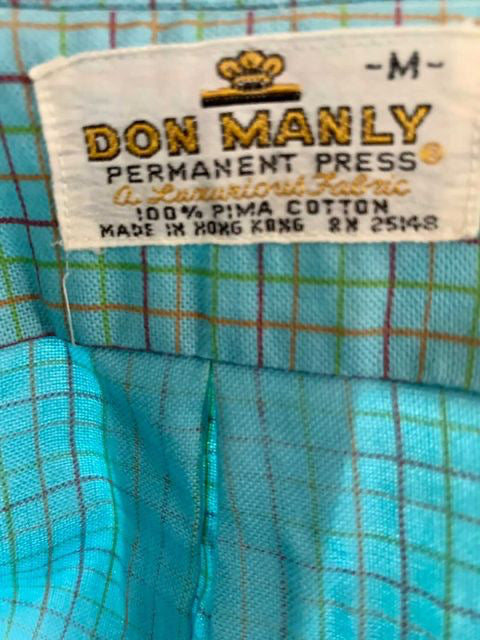 80s Short Sleeve multicolor Square Print Shirt  By Don Manly