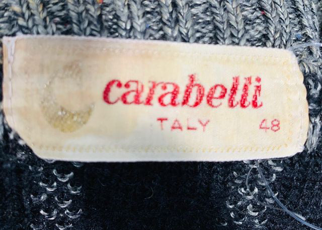 80s Crew Neck Sweater With Leather Trim  By Caraballi