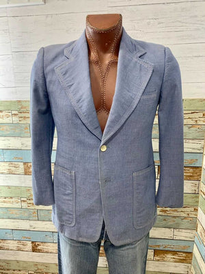70s Light Blue top Stitched Sport Blazer By Brookfield for Hannys