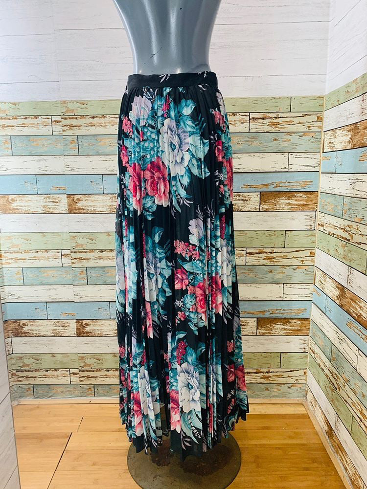 70s -Flower Pleated Long Skirt