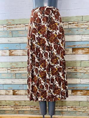 70s - Long Print leafs Mix Skirt - Hamlets Vintage