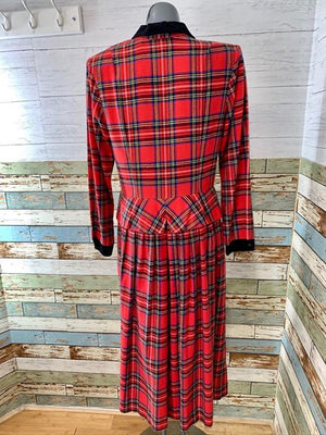 80s - Tartan Dress  By Lang Originals