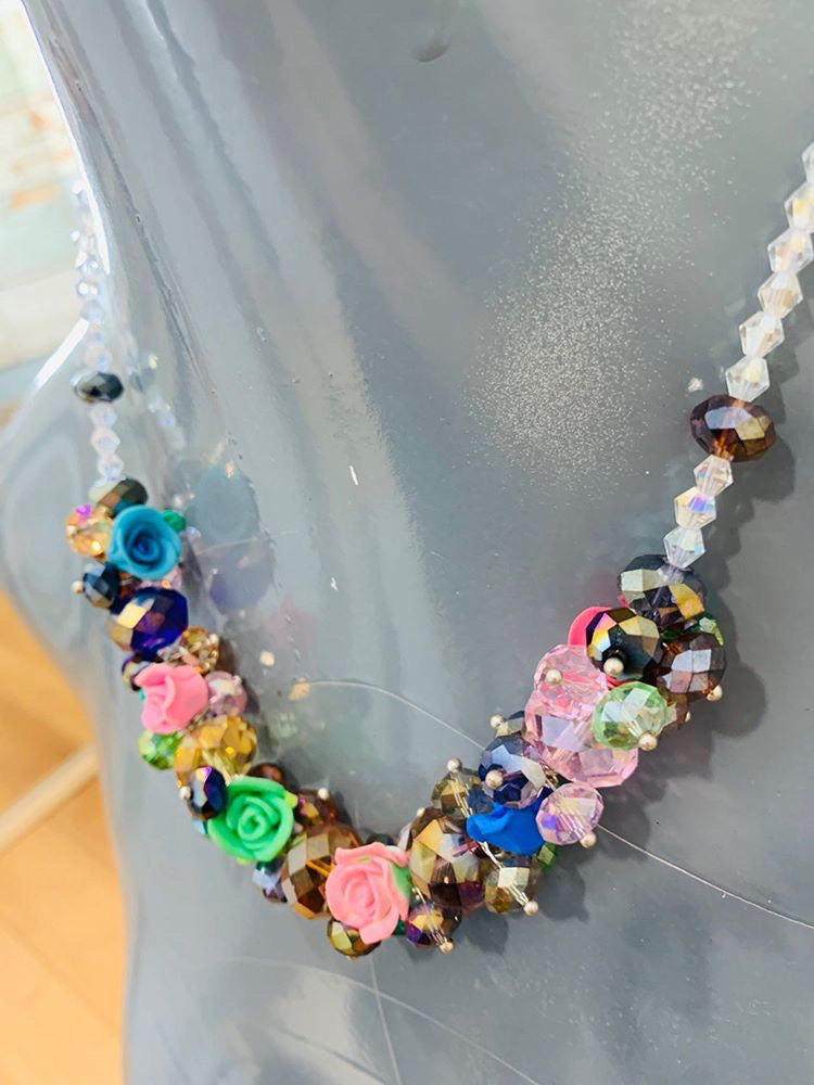 90s - Crystal multicolor Stones With Flowers Necklace - Hamlets Vintage