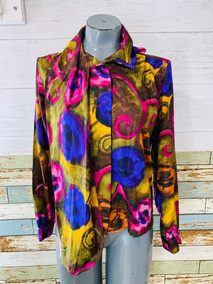 80's - Abstract print blouse with Bow - Hamlets Vintage