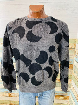 90s Circle print Crew Neck Sweater  By Delta tricot