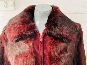 70s Wine  Rabbit Zip Bomber Fur Coat