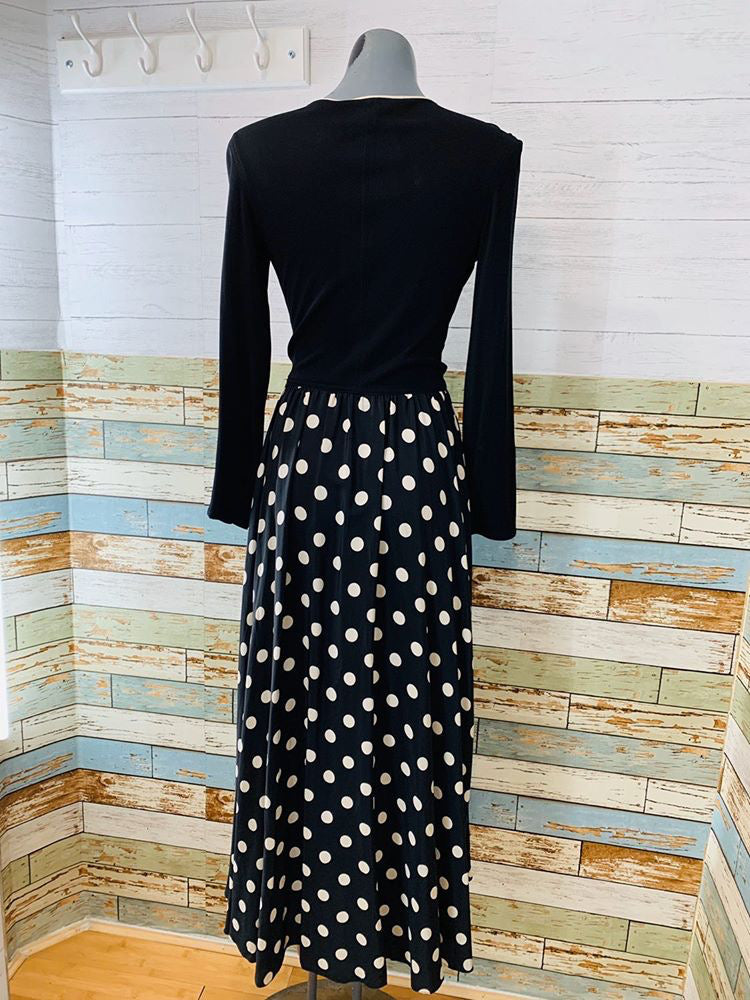 90s Polka Dot Wrap Maxi Dress - Hamlets Vintage