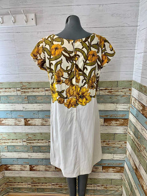 60s Cap Sleeve Cotton Dress With Print Flowers By Cover Girl of Miami