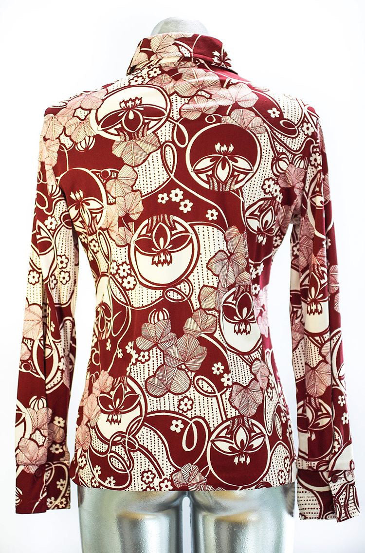 70s - Abstract Flower Print Long Sleeve Shirt - Hamlets Vintage