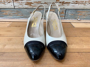 90s Salvatore Ferragamo Shoes  Pumps with two Tone and Layer Strap Detail