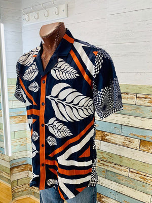 Short Sleeve Sheer Abstract & leafs Print Shirt  By Varsos & Co