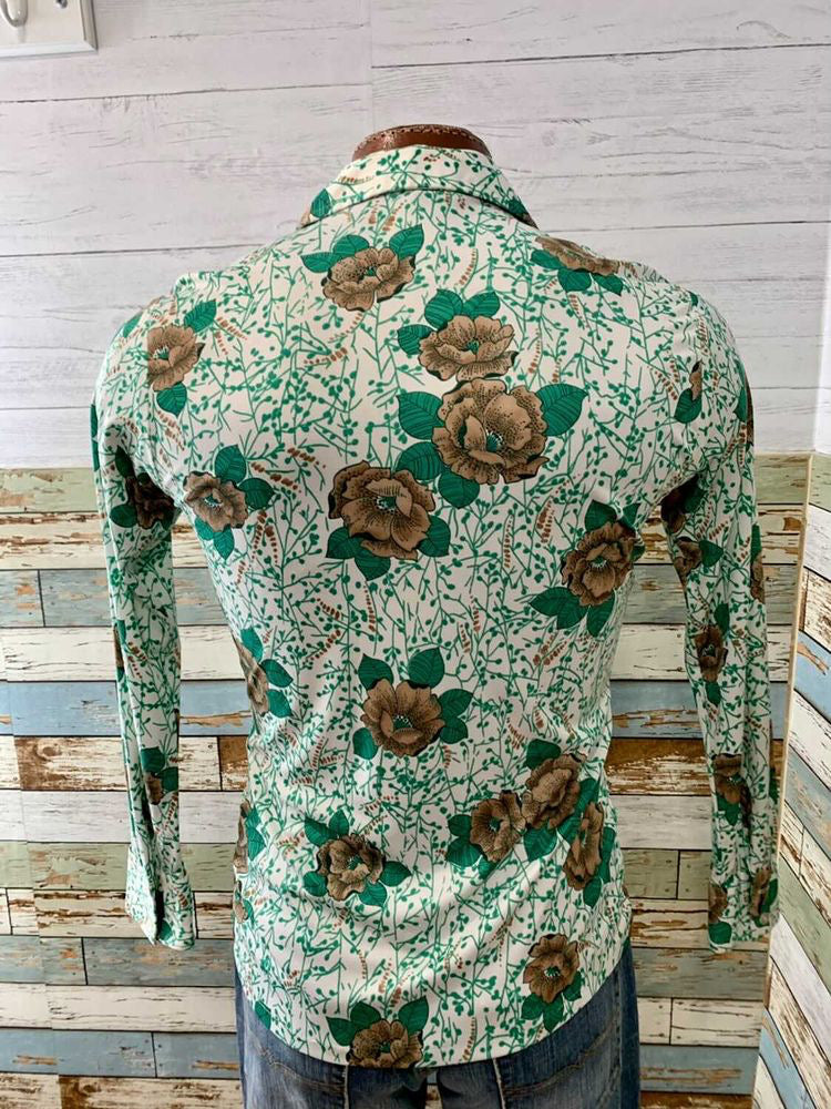 70s Garden Print Long Sleeve Shirt  By Joel  Size Medium. Slim Cut