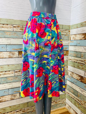 80s - Abstract Multicolor Print Skirt With Front Buttons - Hamlets Vintage