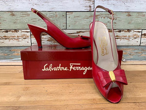 80s - Salvatore Ferragamo Peep Toe and Bow Shoes