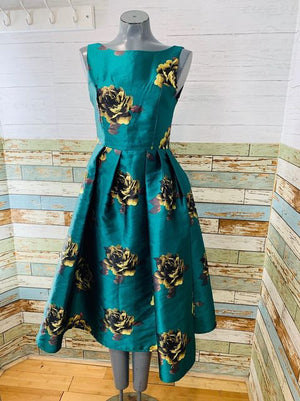 00s Revival Rayon Flower Dress 1950s Style with Full Skirt