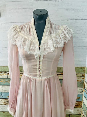 70s Maxi Long Sleeve Pale pink & lace Dress By Gunne Sax