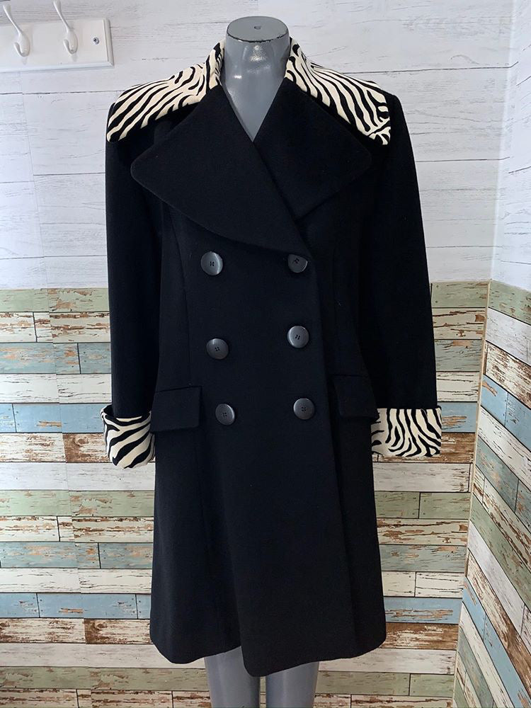 90s - Wool Coat With Zebra Print Details  By Christian Dior