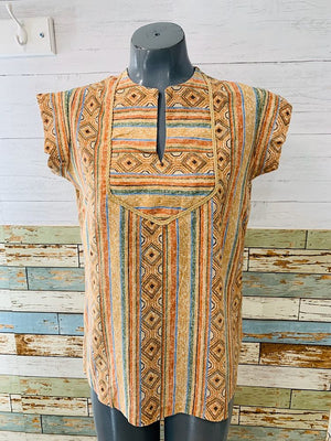 70s Native Print no sleeve Top