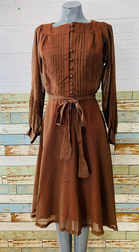 60s - Double layer long Sheer Sleeve Dress With Full Skirt - Hamlets Vintage