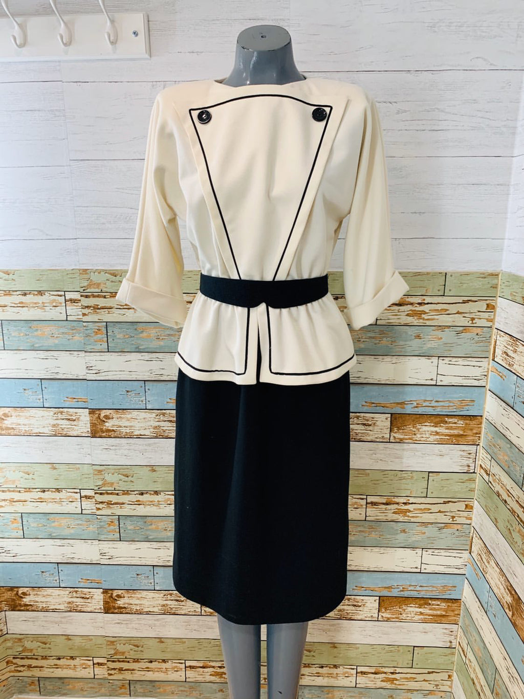 80's Long Sleeve - Black & White Button Detail Belted | Peplum Dress - Hamlets Vintage
