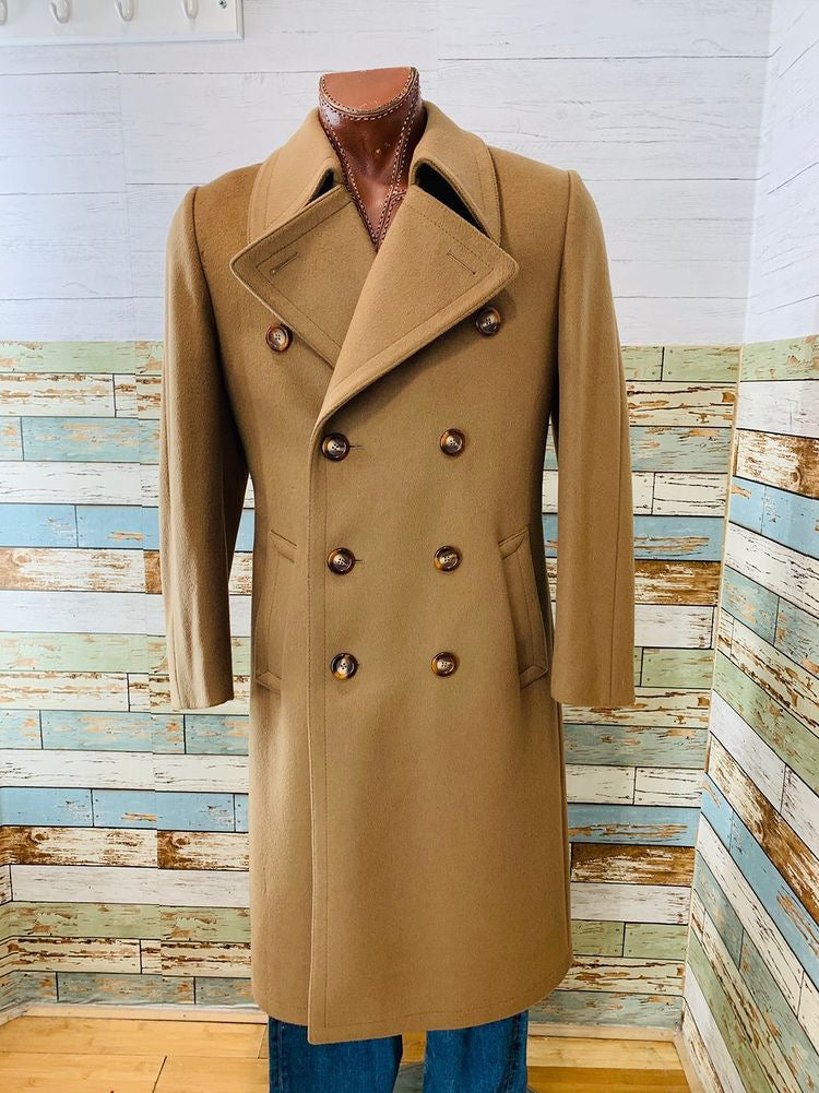 70s Double Breasted Wool Beige Coat By Whitehouse & Hardy
