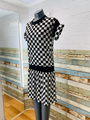 80's Short Sleeve - Checkered Black & White T-Shirt Dress - Hamlets Vintage