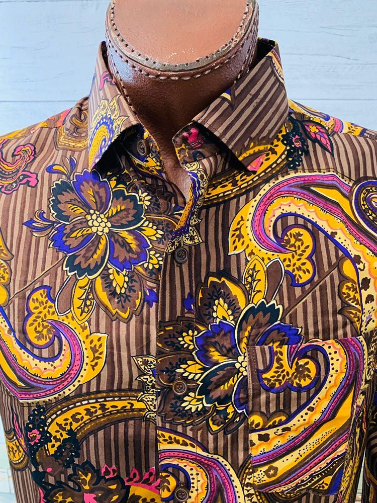 Varsos & Co. - Baroque Print | Button Up Long Sleeve Shirt - Hamlets Vintage