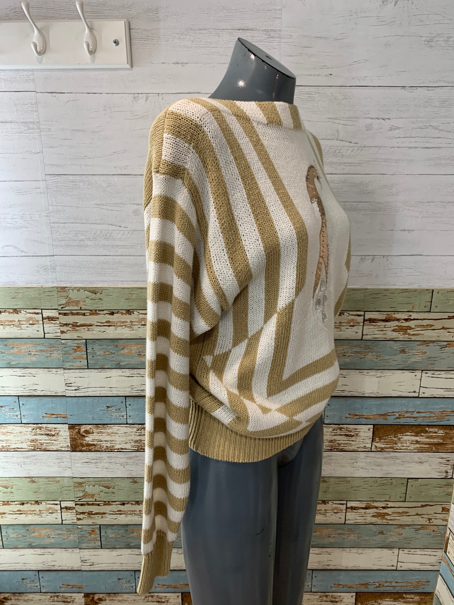 90s Bird Print & Stripes Cotton Sweater By Tian Collections