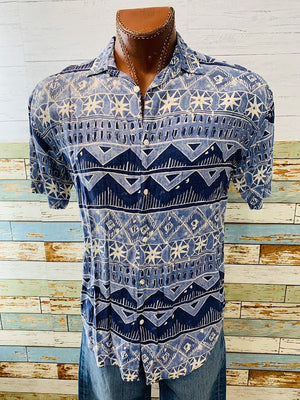 80s - Indonesian Print by Kikomo | Short Sleeve Shirt - Hamlets Vintage