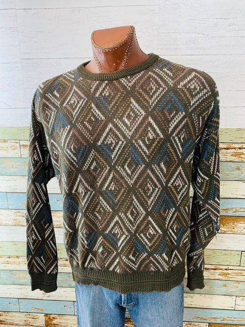 80s - Multicolor Knit Crew Neck Sweater By Jantzen