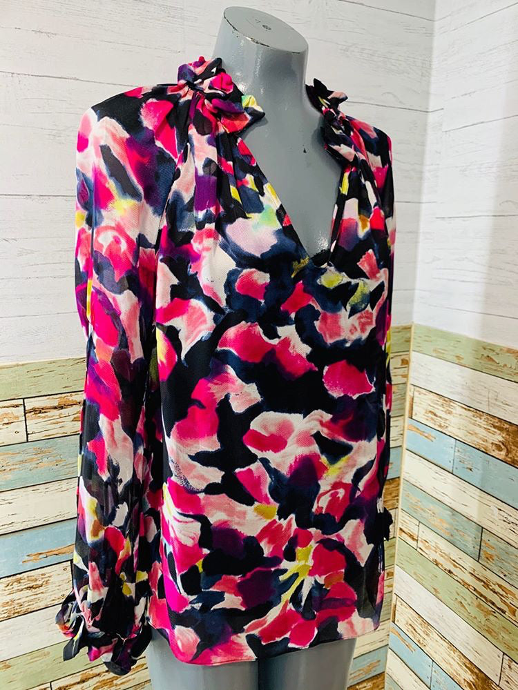00s - Diane Von Furstenberg Cheer Flower Blouse With Cami
