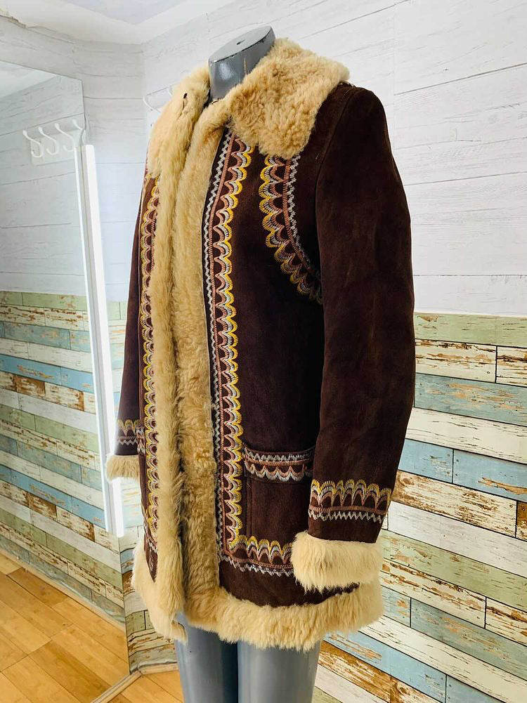 70s Sheepskin Embroidery Coat  By Pier Carce Ltd