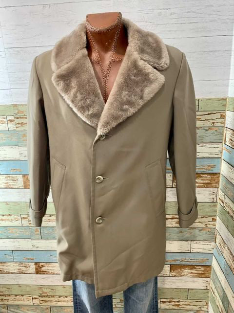 70s faux collar 3/4 Length Coat By The NorthWest