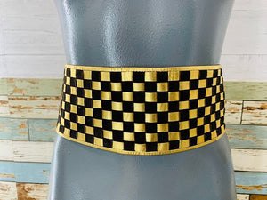 80s - Woven Wide checker Black Suede & Metal Gold Leather Belt - Hamlets Vintage