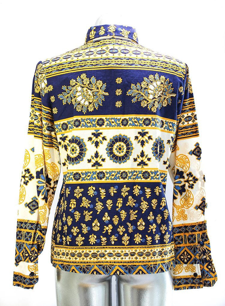 80s - Baroque Print Long Sleeve Shirt - Hamlets Vintage