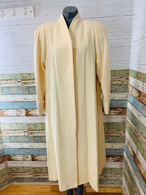 90s - Long Off White Wool Coat  By Bert Newman