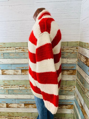 90s - Stripes Canadian Virgin Wool ZIP Sweater