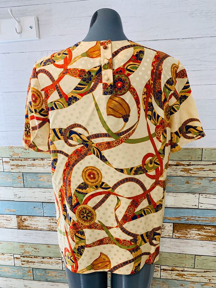 90s Multicolor Print Short Sleeve Top By Adrianna Papell - Hamlets Vintage