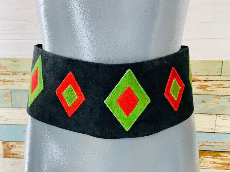 80s - Suede Black,Green,Red Wide Belt - Hamlets Vintage