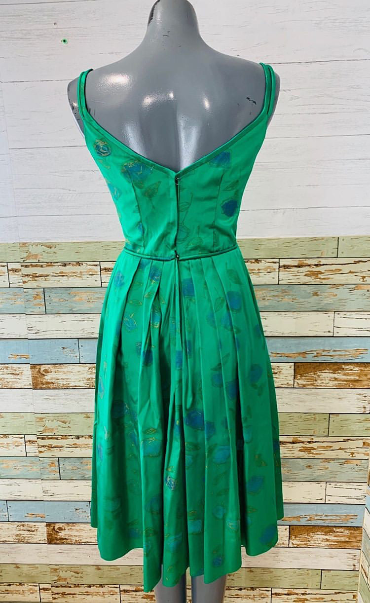 60's - Strapped Green Floral Printed Dress - Hamlets Vintage