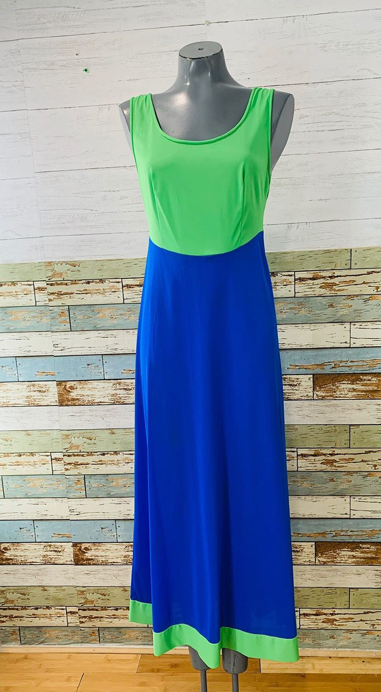 70s - Bright 2 Tone Slip Dress - Hamlets Vintage