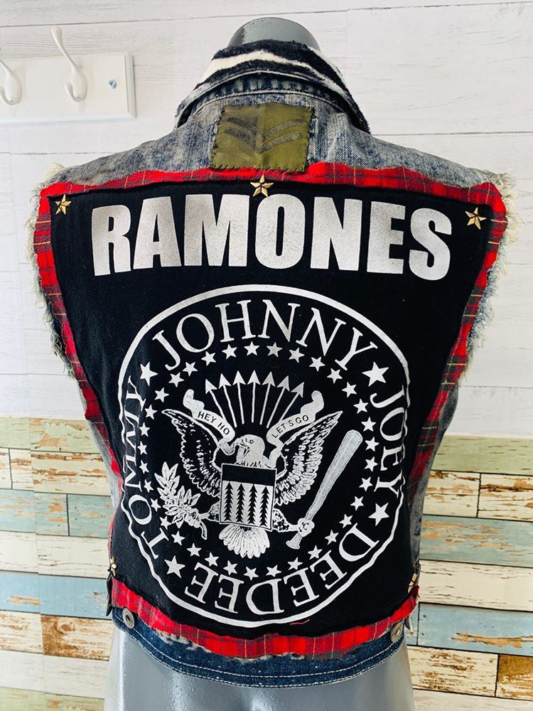 Neverabore - Re Design Unisex Denim Vest Ramones - Hamlets Vintage