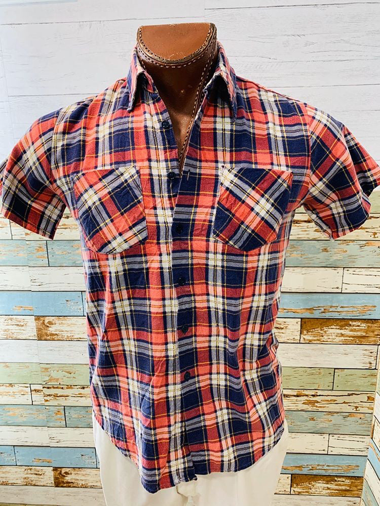 90's Short Sleeve- Plaid Colored | Class One Shirt - Hamlets Vintage
