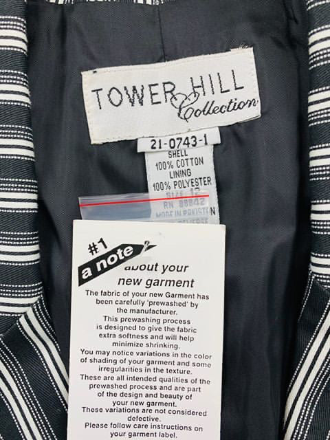 90's - Stripe Black & White Blazer 1990s By tower Hill - Hamlets Vintage