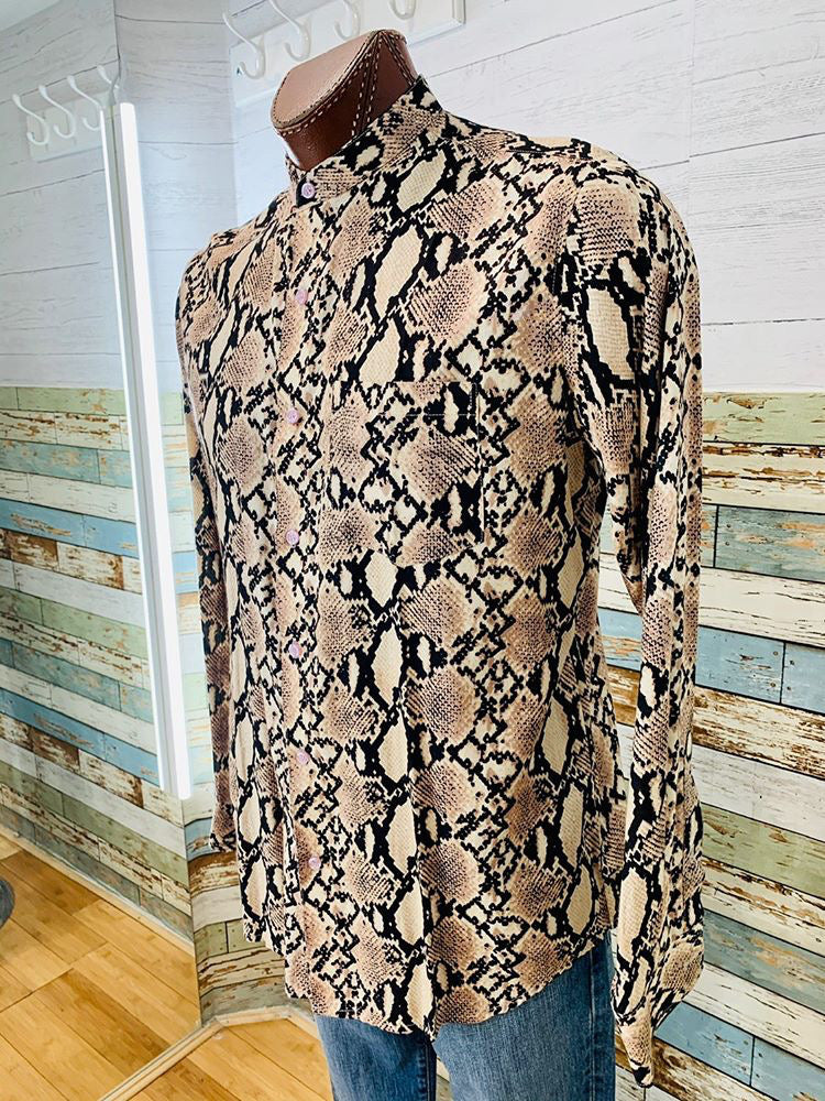 Long Sleeve Snake Print Shirt  By Varsos & Co