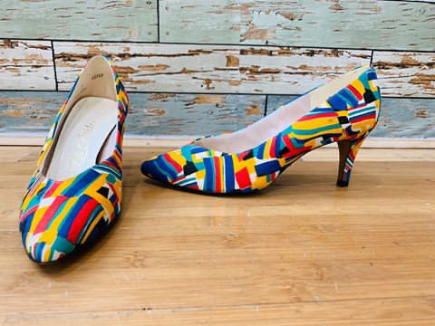 80s abstract Multi Color Heels